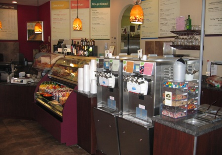 Upscale Neighborhood Cafe serving a Starbucks style menu, plus Beer & Wine